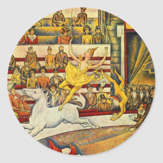 Le Cirque ( The Circus ) by Georges Seurat Round Sticker