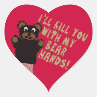 Le conseguiré con mis manos del oso pegatina corazon personalizadas