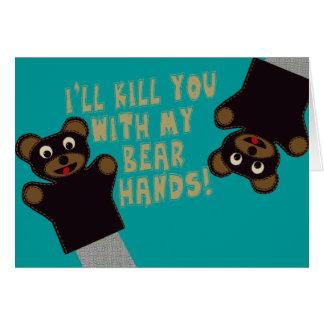 Le conseguiré con mis manos del oso tarjeta de felicitación