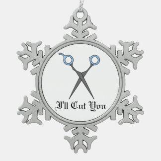 Le cortaré (las tijeras azules claras del corte de adorno de peltre en forma de copo de nieve
