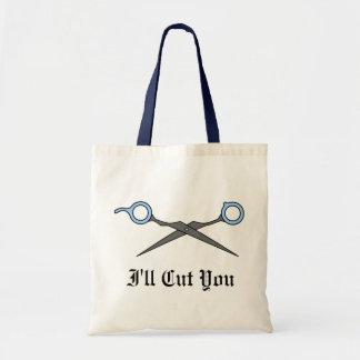 Le cortaré (las tijeras azules del corte del pelo) bolsa tela barata