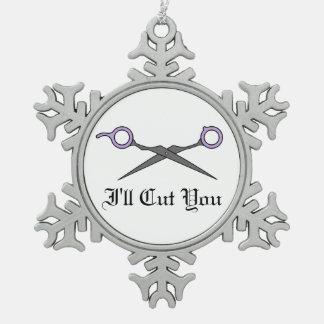 Le cortaré (las tijeras púrpuras del corte del pel adorno de peltre en forma de copo de nieve