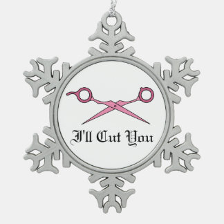 Le cortaré (las tijeras rosadas del corte del pelo adorno de peltre en forma de copo de nieve