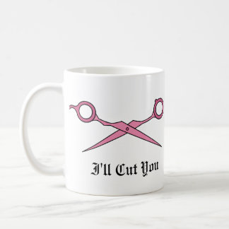 Le cortaré (las tijeras rosadas del corte del pelo taza básica blanca
