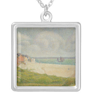 Le Crotoy looking Upstream, 1889 Silver Plated Necklace