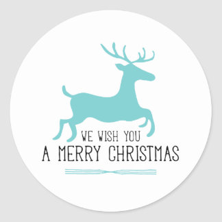 Le deseamos Felices Navidad el   reno azul Pegatina Redonda