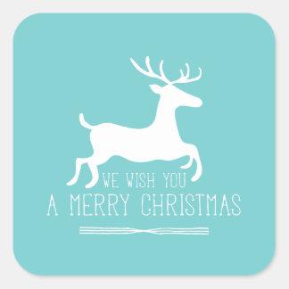 Le deseamos Felices Navidad el   sólido azul Pegatina Cuadrada