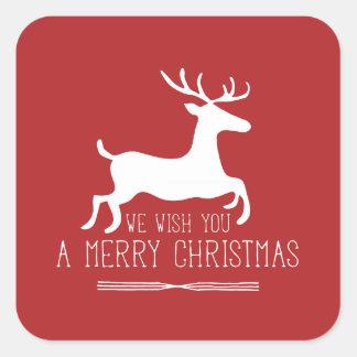 Le deseamos Felices Navidad el   sólido rojo Pegatina Cuadrada