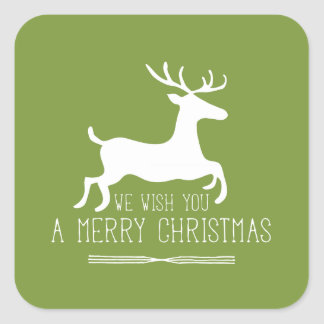 Le deseamos Felices Navidad el   sólido verde Pegatina Cuadrada