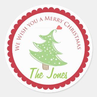 Le deseamos Felices Navidad las etiquetas Pegatina Redonda