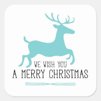 Le deseamos un azul de las Felices Navidad el   Pegatina Cuadrada