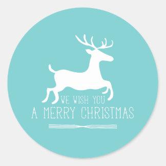 Le deseamos un azul de las Felices Navidad el   Pegatina Redonda