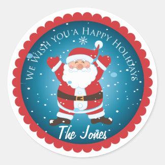 Le deseamos un día de fiesta feliz Santa las Pegatinas Redondas