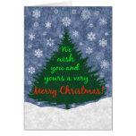 Le deseamos un feliz árbol de navidad y los copos tarjetón