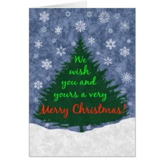 Le deseamos un feliz árbol de navidad y los copos tarjeta pequeña