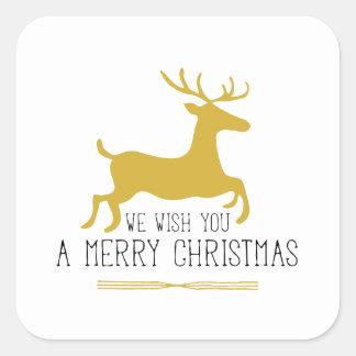 Le deseamos un oro de las Felices Navidad el   Pegatina Cuadrada