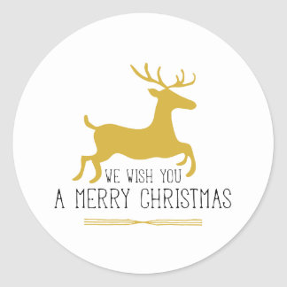 Le deseamos un reno del oro de las Felices Navidad Pegatina Redonda