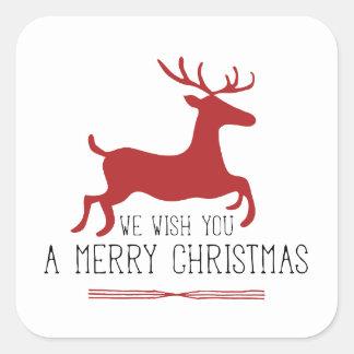 Le deseamos un rojo de las Felices Navidad el   Pegatina Cuadrada