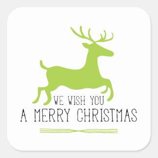 Le deseamos un verde de las Felices Navidad el   Pegatina Cuadrada
