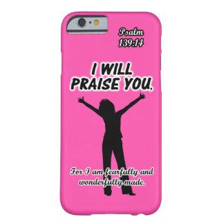 Le elogiaré - silueta del rosa del 139:14 del funda de iPhone 6 barely there
