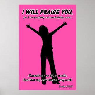 Le elogiaré - silueta del rosa del 139:14 del salm póster