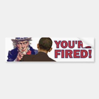 ¡Le encienden! Diseño anti de Obama Pegatina De Parachoque