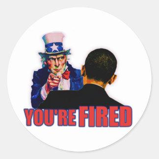 ¡Le encienden! Diseño anti de Obama Pegatina Redonda