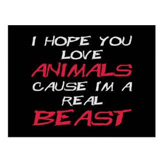 Le espero causa de los animales del amor que soy tarjeta postal