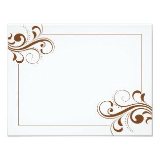 """Le Fleur (brown/white) 4.25x5.5 Flat Note Card 4.25"""" X 5.5"""" Invitation Card"""