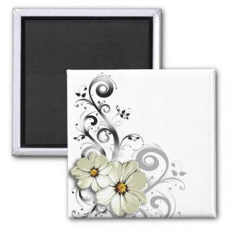 """Le Fleur"" by Cheryl Daniels (ivory) 2 Inch Square Magnet"
