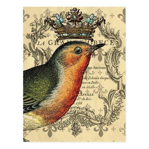 Le Fleur Crowned Bird Postcards