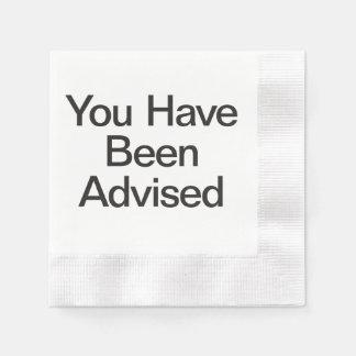 le han aconsejado servilletas de papel
