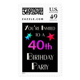 Le invitan a un 40.o fiesta de Birhday Timbre Postal