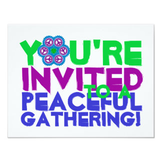 """Le invitan a una reunión pacífica invitación 4.25"""" x 5.5"""""""