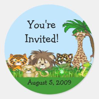 ¡Le invitan! Fiesta de bienvenida al bebé de Pegatina Redonda