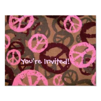 """¡Le invitan! - Los signos de la paz invitan Invitación 4.25"""" X 5.5"""""""