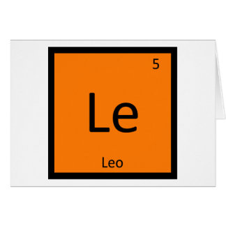 Le - Leo Lion Zodiac Sign Chemistry Periodic Table Card