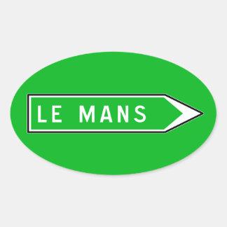 Le Mans, Road Sign, France Oval Sticker