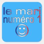 Le Mari Numéro 1 - marido del número 1 en francés Pegatinas Cuadradases