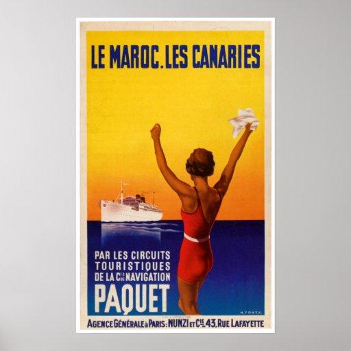 Le Maroc Les Canaries Vintage Ship Ad Poster