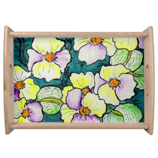 """""""Le mie violette"""" Large Serving Tray, Natural Serving Tray"""