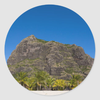 Le Morne Brabant Mauritius with blue sky Classic Round Sticker