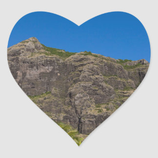 Le Morne Brabant Mauritius with blue sky Heart Sticker