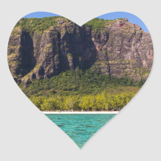 Le Morne Brabant Mauritius with sea panoramic Heart Sticker