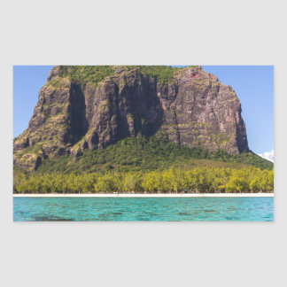 Le Morne Brabant Mauritius with sea panoramic Rectangular Sticker