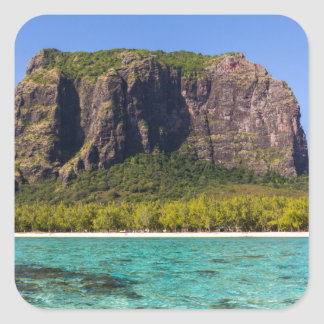 Le Morne Brabant Mauritius with sea panoramic Square Sticker