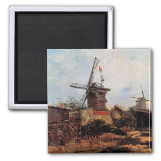 Le Moulin de Blute-Fin by Vincent van Gogh 2 Inch Square Magnet