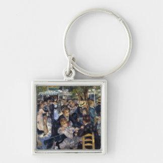 Le Moulin de la Galette by Pierre Auguste Renoir Silver-Colored Square Keychain
