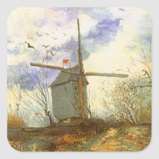 Le Moulin Galette by Vincent van Gogh, Windmill Square Stickers