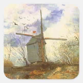 Le Moulin Galette de Vincent van Gogh, molino de Pegatina Cuadrada
